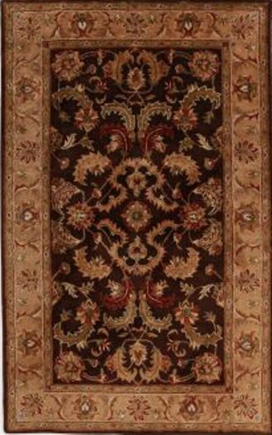 LB Hand Tufted Wool Dark Brown/Gold Rug