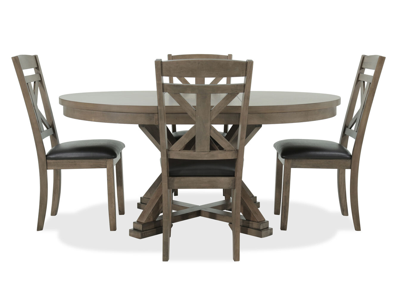mathis brothers dining room sets | Five-Piece Casual Round Expandable 48'' Dining Set in ...