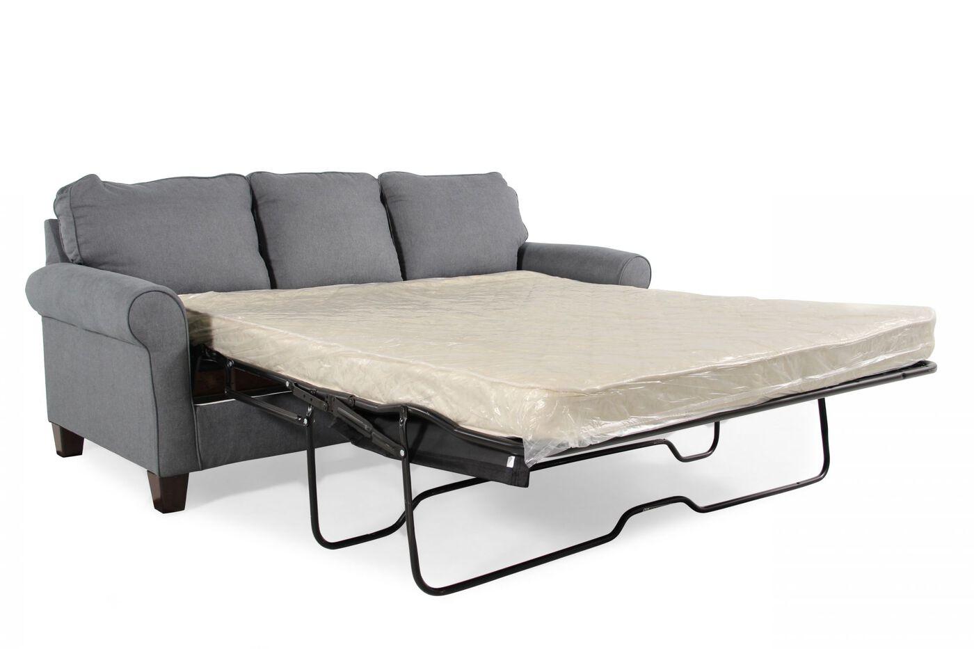 Contemporary Queen Sleeper Sofa In Denim Blue Mathis