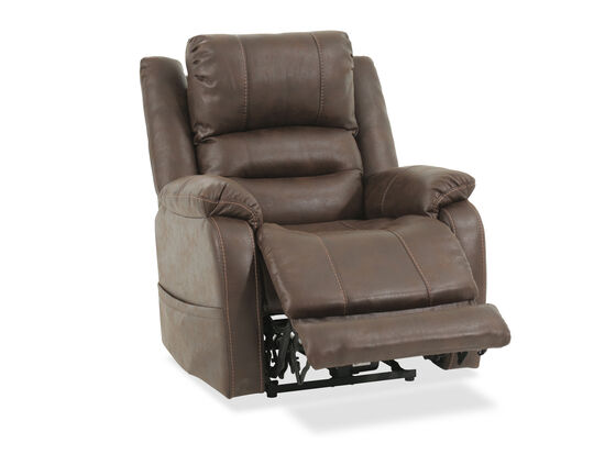"Pillow Top Arm Contemporary 34.5"" Power Recliner in Brown"