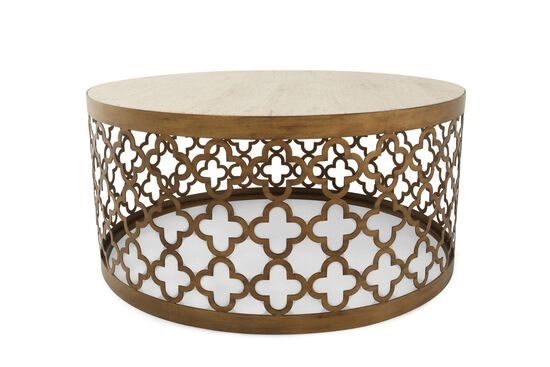 Quatrefoil Base Contemporary Round Table in Bronze