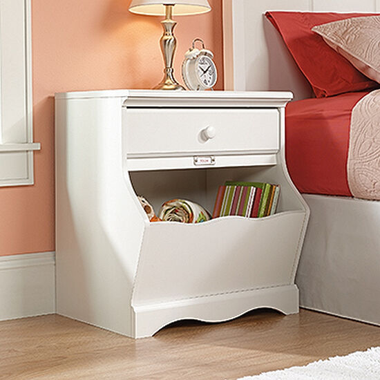 Traditional Youth Nightstand with Storage Bin in Soft White