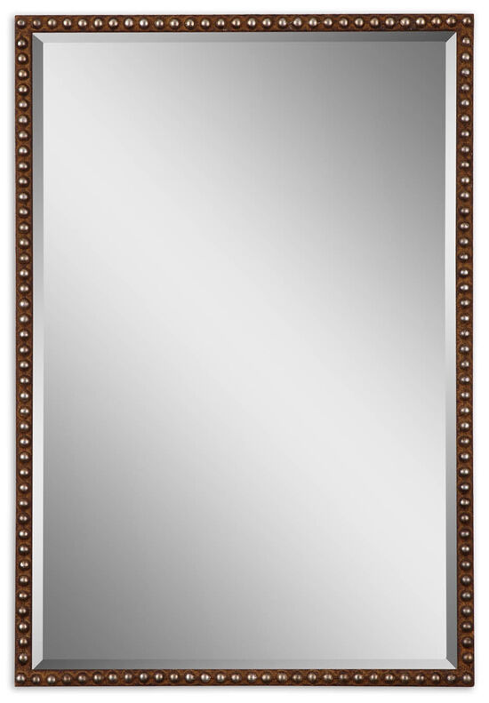 """32"""" Studded Accent Mirror in Distressed Rusty Brown"""