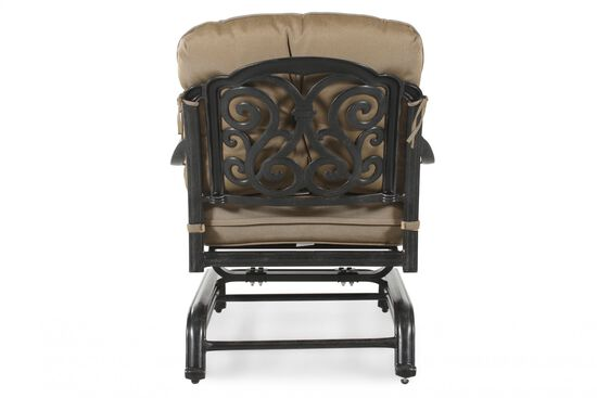 Button-Tufted Aluminum Rocker Chair with Cushion in Khaki