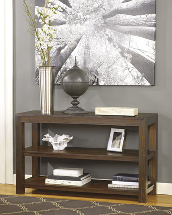 Open Shelves Casual Sofa Table in Warm Brown
