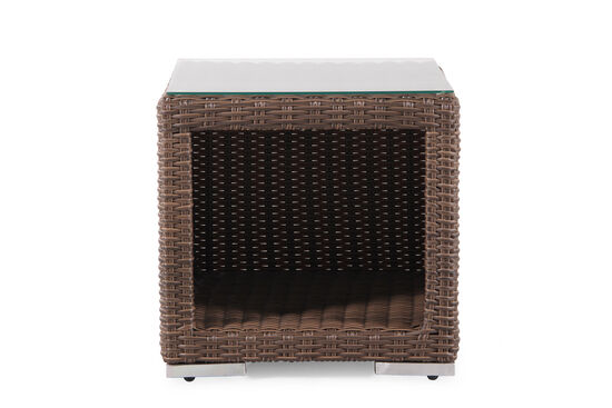 Contemporary  All-Weather Wicker Side Table with Storage Compartment in Medium Brown