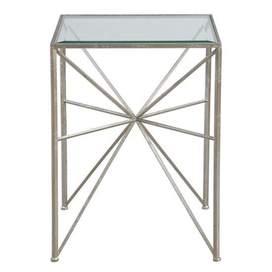 Starburst Designed Side Table in Silver