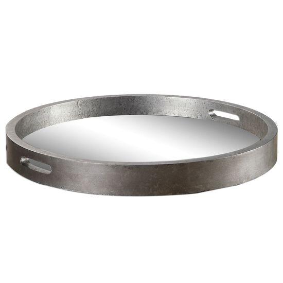 "22"" Round Trayin Antique Silver"