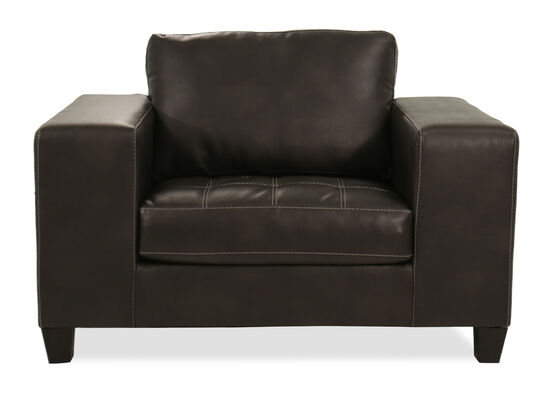 """Contemporary 54"""" Oversized Leather Chair & a Half in Charcoal Gray"""