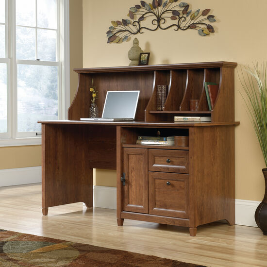 "59"" Contemporary Two-Drawer Computer Desk with Hutch in Auburn Cherry"