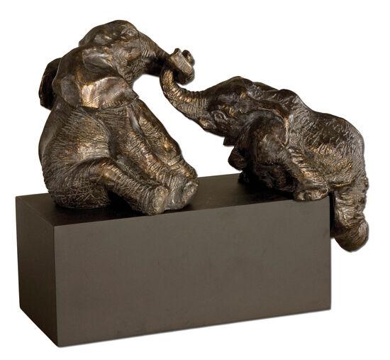Three-Piece Pachyderm Figurines in Bronze