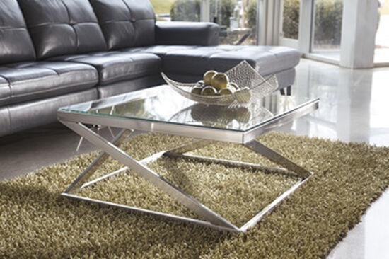 Square Contemporary Cocktail Tablein Nickel