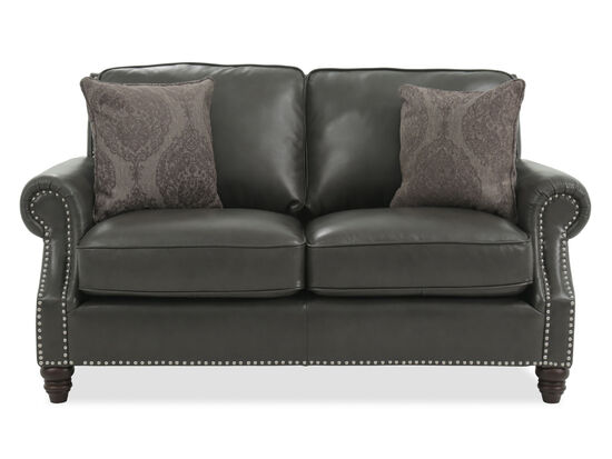 Nailhead-Trimmed Leather Loveseat in Gray