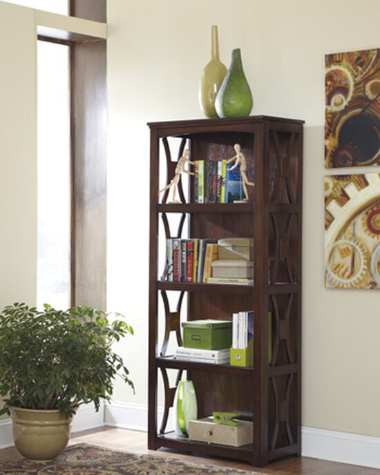 Four-Shelf Casual Large Bookcase in Dark Brown