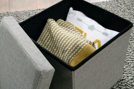 """Traditional 15"""" Storage Ottoman in Light Gray"""