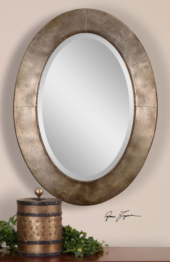 """38"""" Oval Accent Mirror in Antiqued Silver Champagne Leaf"""
