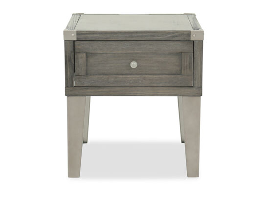 Contemporary Weathered End Table with USB Port in Dark Gray