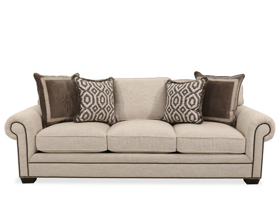"""Contemporary 99.5"""" Nailhead-Accented Sofa in Beige"""