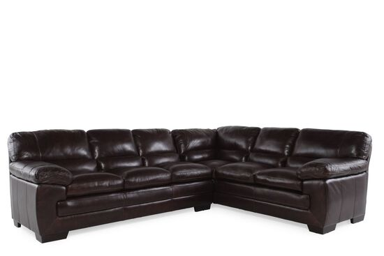 "Two-Piece Leather 96"" Sectional in Walnut"