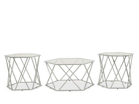 Three-Piece Hexagonal Contemporary Table Set in Silver
