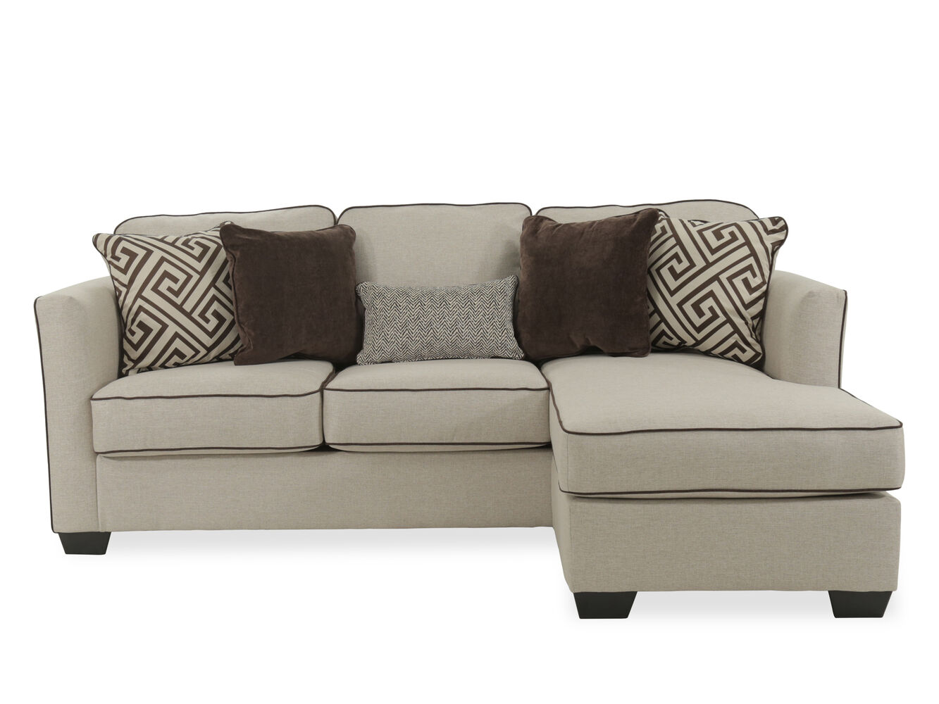 Contemporary 92 Quot Sofa Chaise In Beige Mathis Brothers