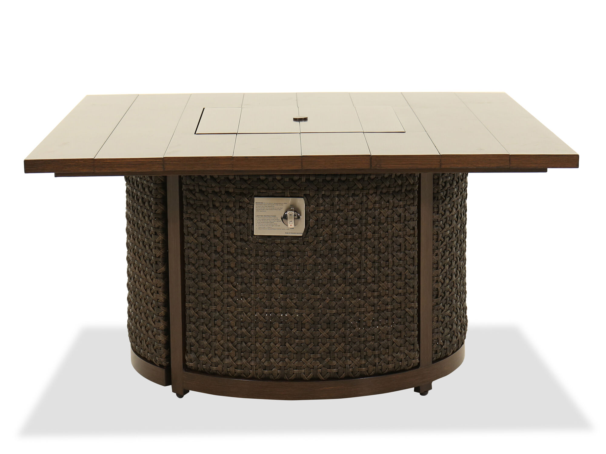 Beau Images Woven Fire Pit Coffee Table In Ebony ...