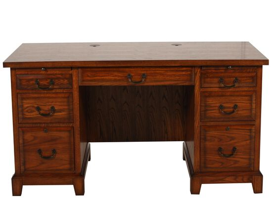 "66"" Traditional Flat Top Desk in Oak"