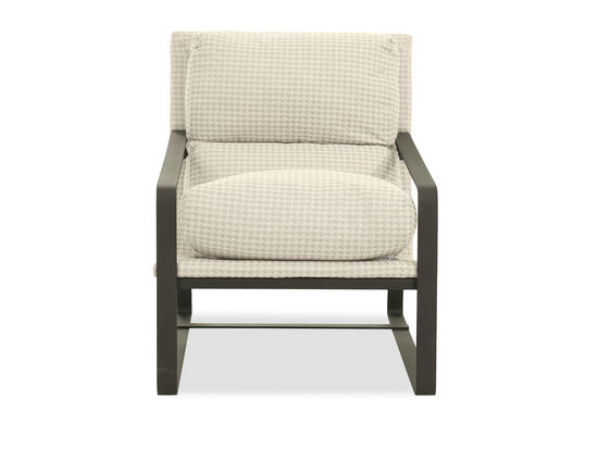 "Houndstooth Patterned Casual 28"" Arm Chair in Beige"