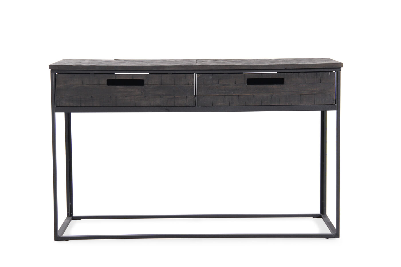 Two Drawer Contemporary Sofa Table In Black