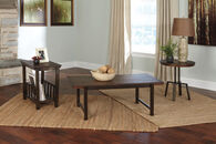 Ashley Riggerton Burnished Brown Occasional Table Set