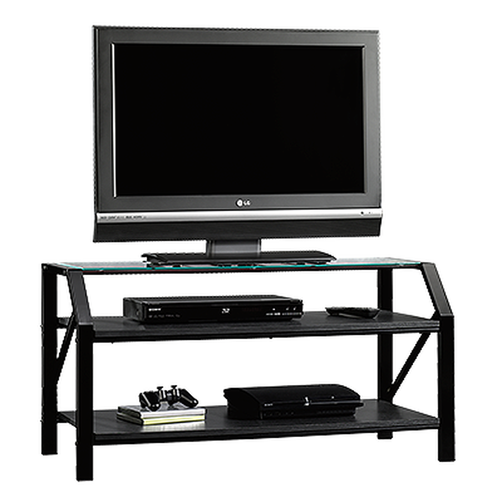 Steel Frame Casual Panel TV Stand in Black | Mathis Brothers Furniture