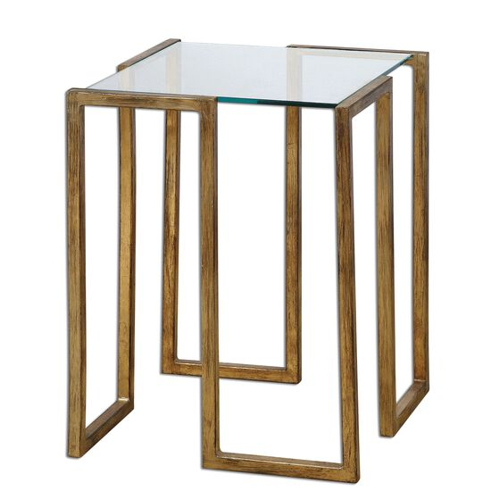 Glass Top Accent Table in Antique Gold Leaf
