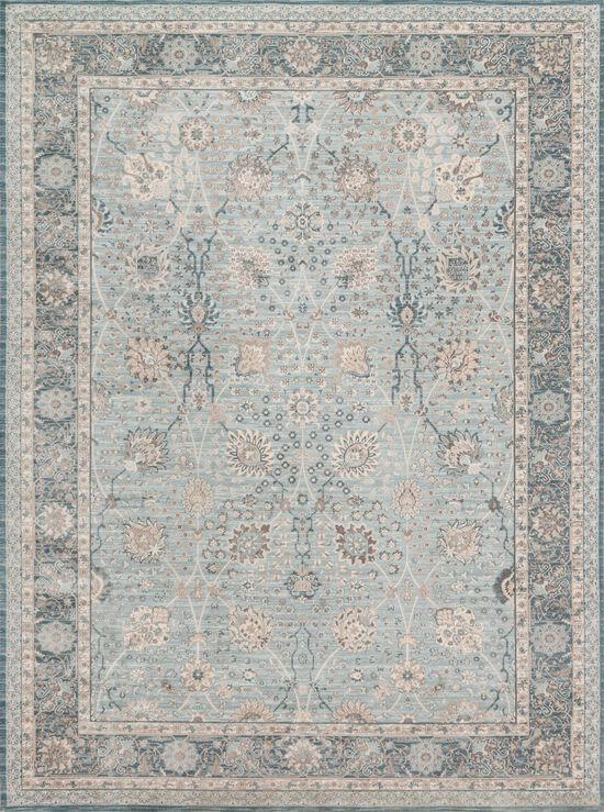 """Traditional 1'-6""""x1'-6"""" Square Rug in Lt Blue/Dk Blue"""