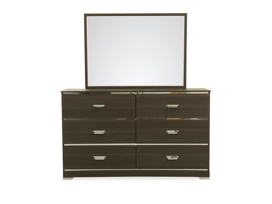 Two-Piece Contemporary Youth Dresser & Mirror in Gray
