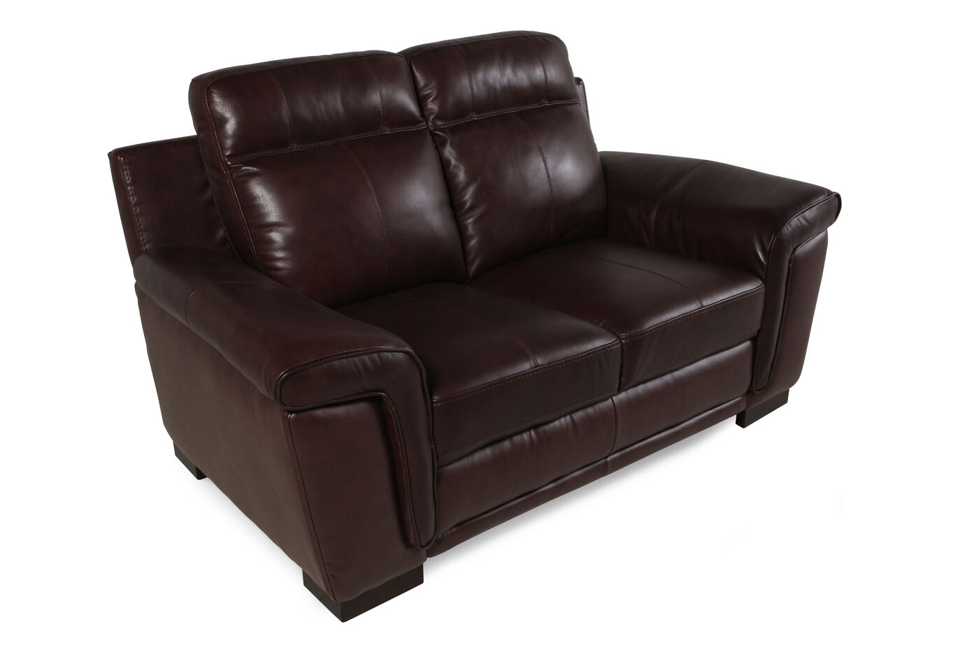 Contemporary Leather 67 Loveseat In Chocolate Brown Mathis Brothers Furniture