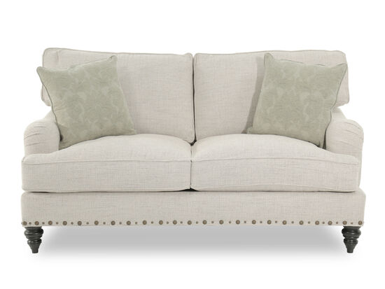 """Nailhead-Trimmed Traditional 71"""" Loveseat in Cream"""