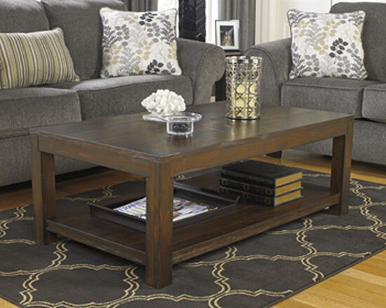 Rectangular Casual Cocktail Table in Rustic Brown