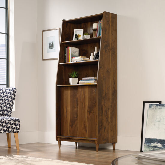 Sliding Door Mid-Century Modern Wide Bookcase in Grand Walnut