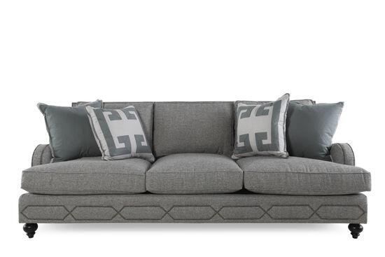 """Nailhead-Accented 95"""" Sofa in Dove Gray"""