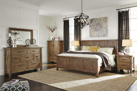 Four Piece Casual Bedroom Set In Russet Brown Mathis Brothers Furniture
