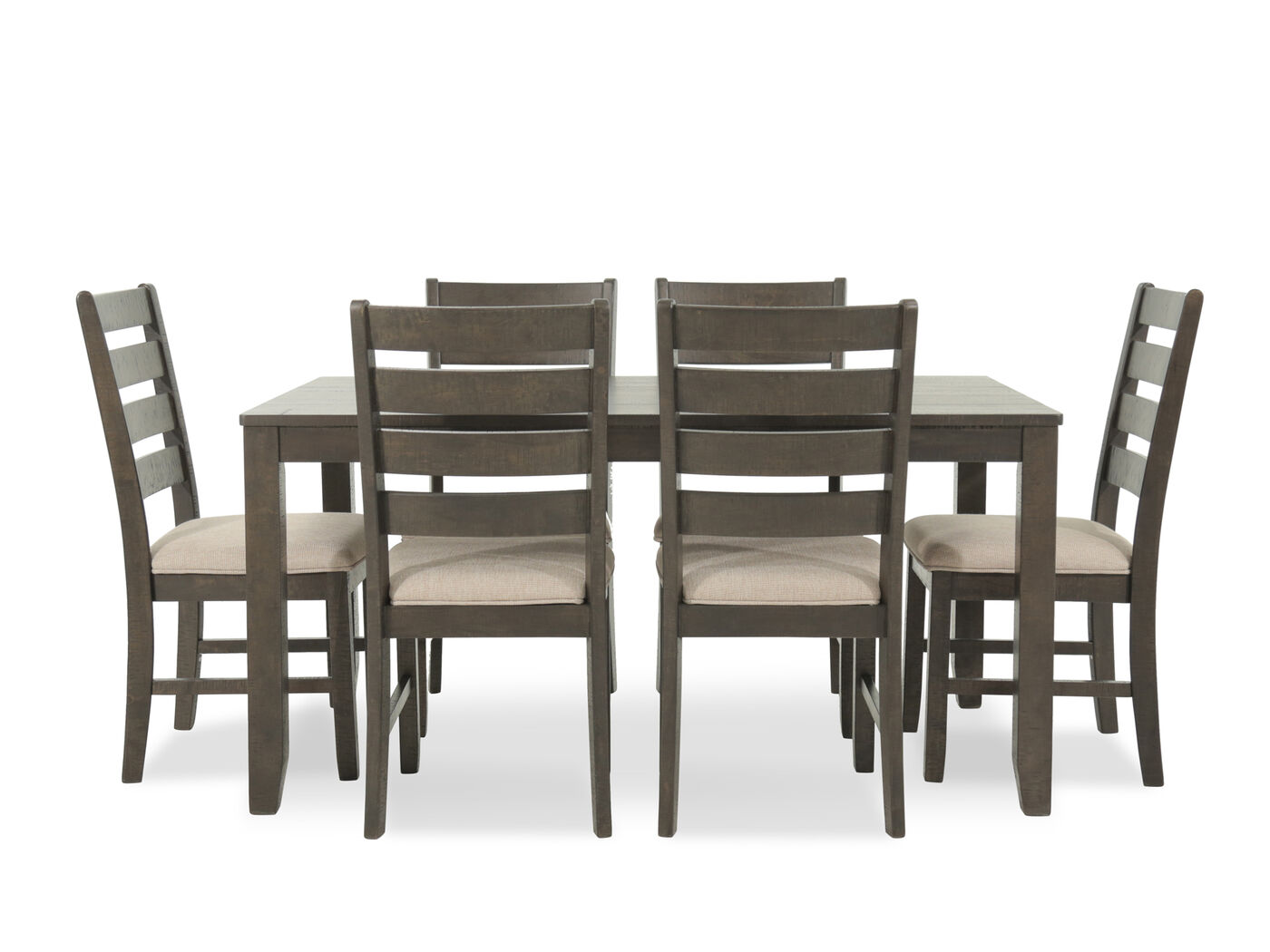 Seven Piece Contemporary  Dining Set In Brown Mathis Brothers Furniture
