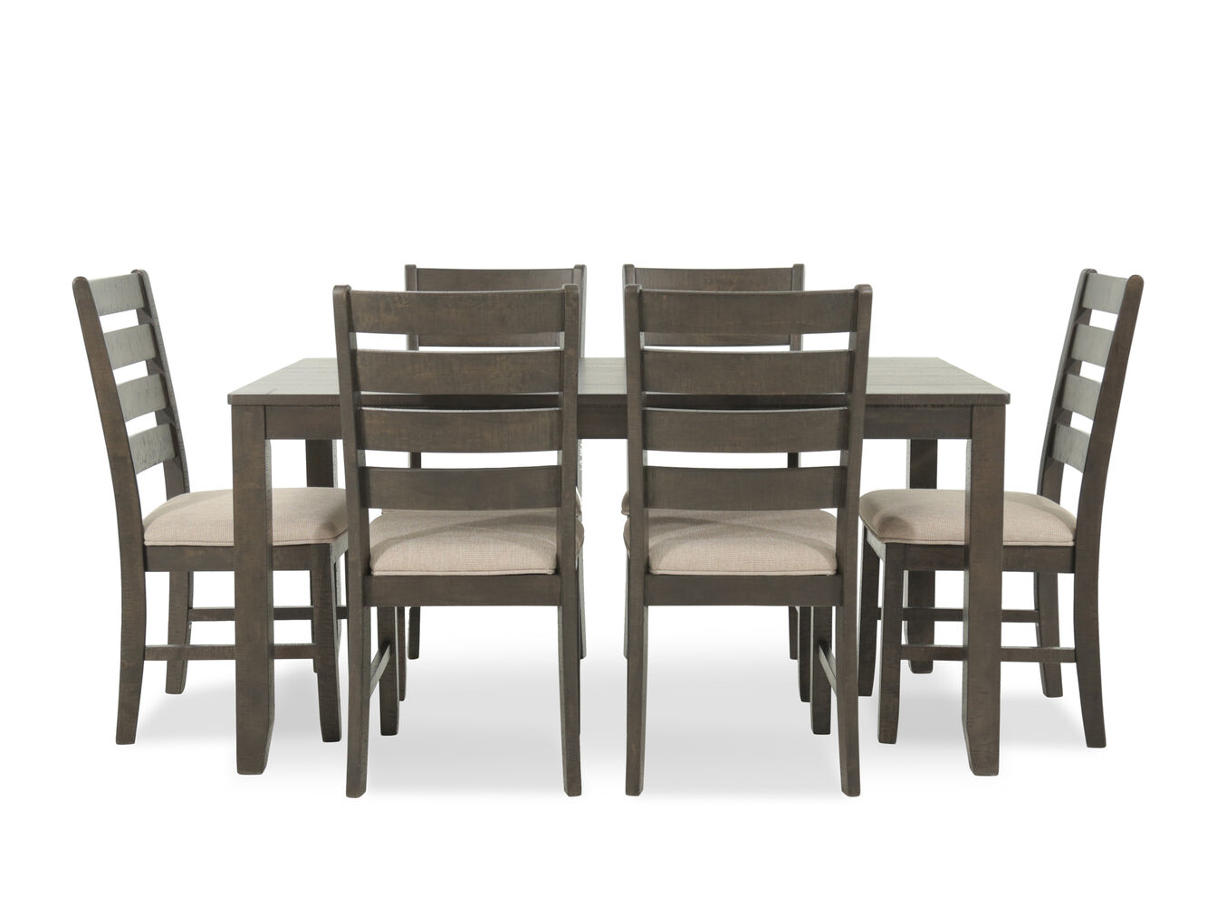 Seven piece contemporary 60 39 39 dining set in brown mathis for Dinner set furniture