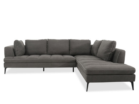 "Casual 71"" Quilted Sectional in Charcoal"