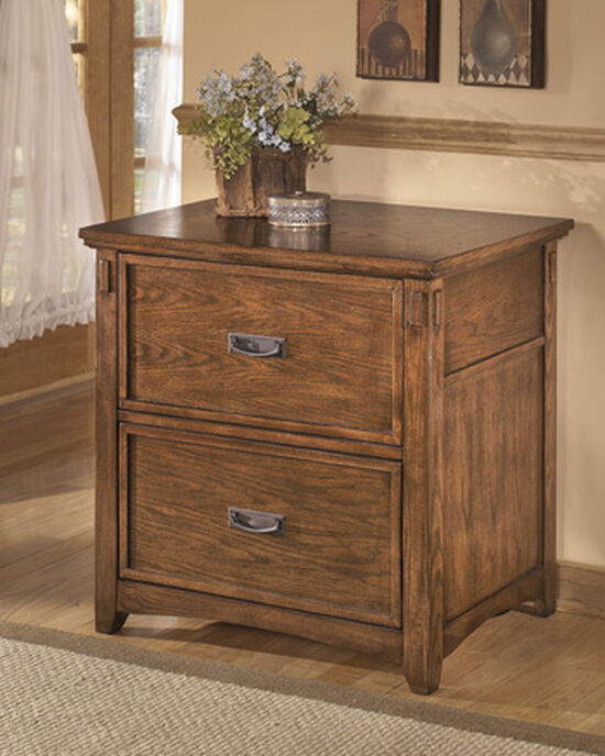 Two-Drawer Mission Lateral File Cabinet in Medium Oak