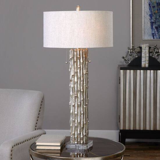 Bamboo Oval Table Lamp: Crystal-Foot Textured Bamboo Table Lamp In Metallic Silver