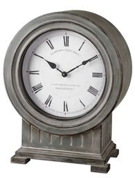 Roman Numeral Mantel Clock in Antiqued Dusty Gray