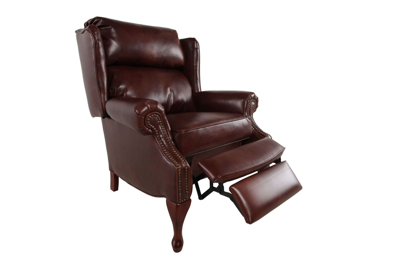 Nailhead accented 35 leather recliner in pecan mathis for Furniture 35