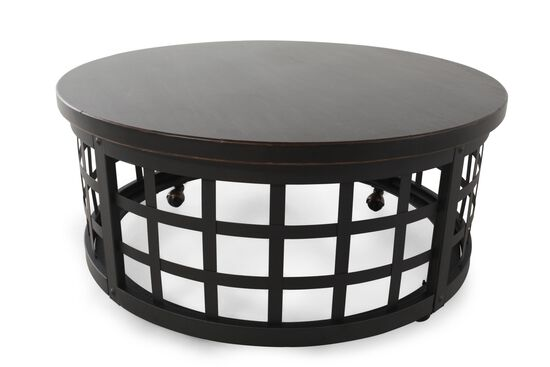 Basket-Framed Round Casual Cocktail Table in Black