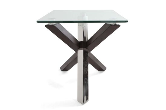 Rectangular Tempered Glass Contemporary End Tablein Walnut