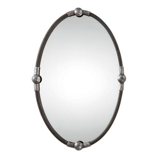 "32"" Burnished Frame Oval Mirrorin Rust Black"